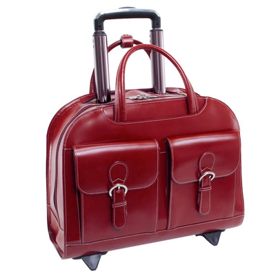 "McKlein Womens DAVIS 15.6"" Wheeled Laptop Case in Red"