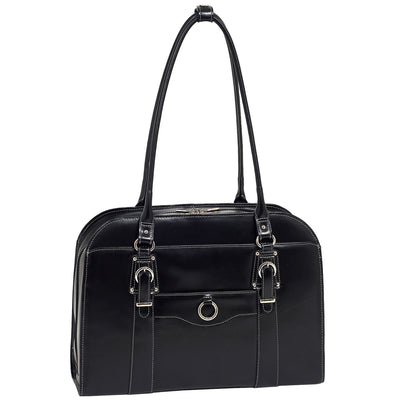 "McKlein Womens HILLSIDE 15.6"" Leather Briefcase in Black"
