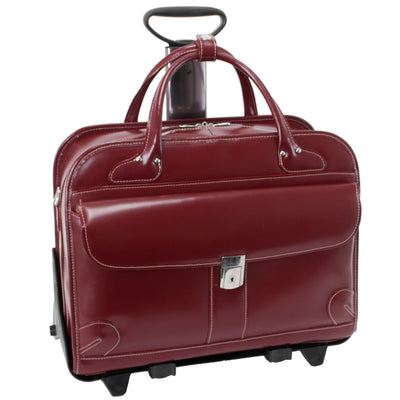 "McKlein Womens LAKEWOOD 15.6"" Leather Fly-Through? Checkpoint-Friendly Detachable-Wheeled Briefcase in Red"