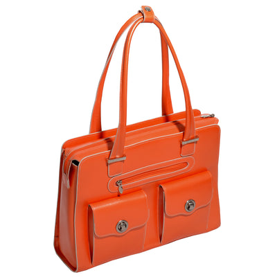 "McKlein Womens VERONA 15.6"" Leather Fly-Through? Checkpoint-Friendly Briefcase in Orange"