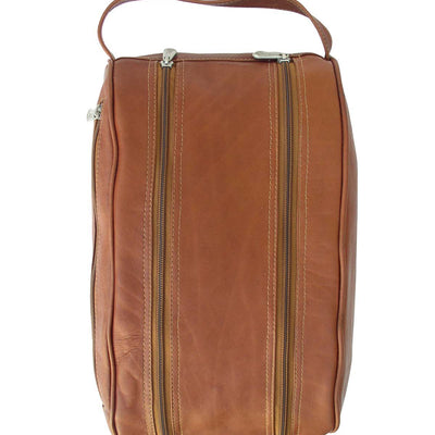 Piel Leather Traveler Double Compartment Travel Bag in Saddle