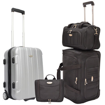 Traveler's Choice Unisex-Adult Rome 4-Piece Carry-On Luggage Set in Silver