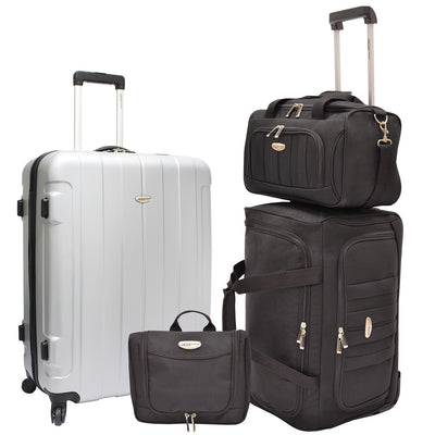 Traveler's Choice Unisex-Adult Rome 4-Piece Nested Luggage Set in Silver