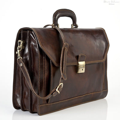 Alberto Bellucci Italian Leather Capri Triple Compartment Laptop Briefcase