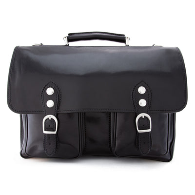 Alberto Bellucci Italian Leather Parma Express Messenger Satchel Bag in Black