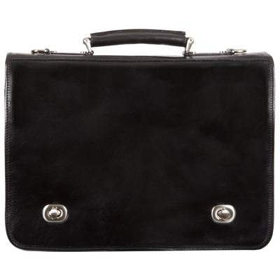 Alberto Bellucci Italian Leather Nevio Double Compartment Laptop Messenger Bag in Black