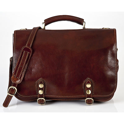 Alberto Bellucci Milano Italian Leather Comano Double Compartment Messenger Satchel Bag