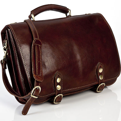 Alberto Bellucci Italian Leather Comano Double Compartment Messenger Satchel Bag