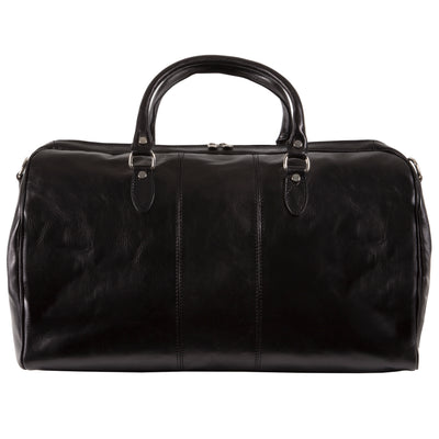 Alberto Bellucci Italian Leather Verona Full Zip Around Traveler Duffel Bag in Black
