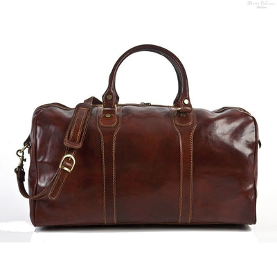 Alberto Bellucci Milano Italian Leather Amato Carry-on Traveler Duffel Bag