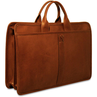 Jack Georges Belmont Collection Double Gusset Top Zip Briefcase in Cognac