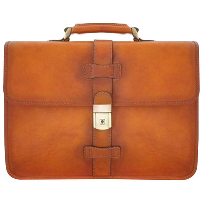 Pratesi Italian Leather Anghiari Cartella Portadocumenti - Leather Briefcase, Cognac