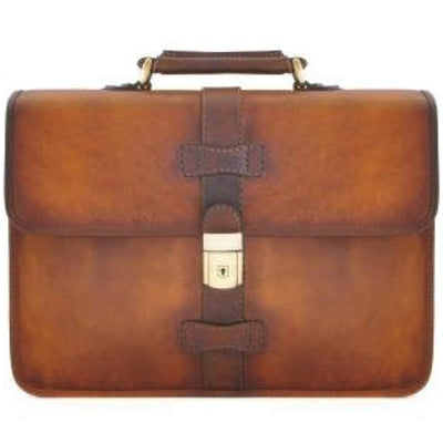 Pratesi Italian Leather Anghiari Cartella Portadocumenti - Leather Briefcase, Brown