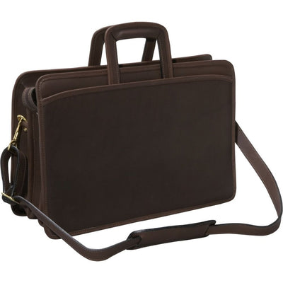 Jack Georges University Triple Gusset Top Zip Tri-Pocket Briefcase