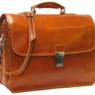 Floto Leather Cortona Laptop Briefcase in Olive Brown