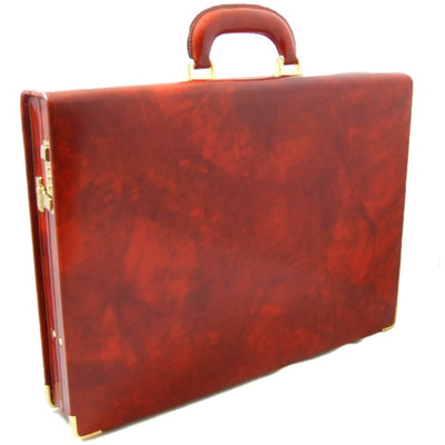 Pratesi Mens Italian Leather Machiavelli Radica Slim Attache In Cow Leather