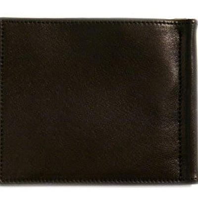 Floto Mens Leather Bill Clip Wallet in Black