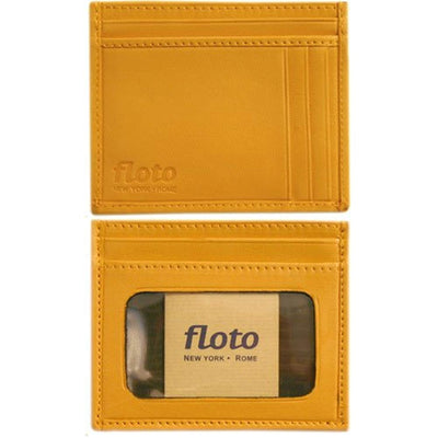 Floto Mens Leather Card Case wallet in yellow