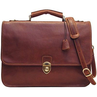 Floto Mens Leather Messenger Briefcase Brown