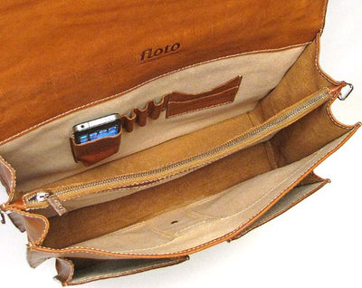 Floto Mens Parma Briefcase in Parma in Tan