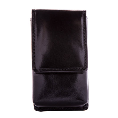 Tony Perotti Italian Leather Top Flap Double Lipstick Case with Mirror in Black