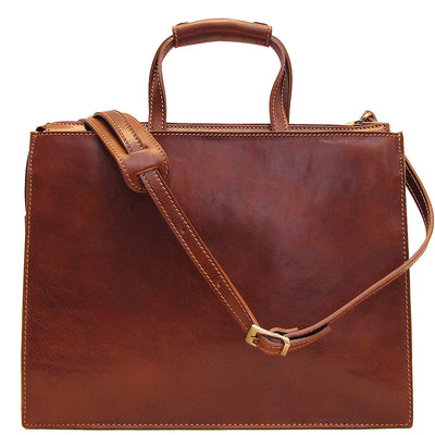 Floto Mens Trastevere Leather Attache Briefcase in Brown