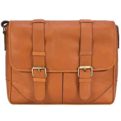 "Muiska Leather Dublin 15"" Laptop Messenger Shoulder Briefcase PC Sleeve, Saddle"