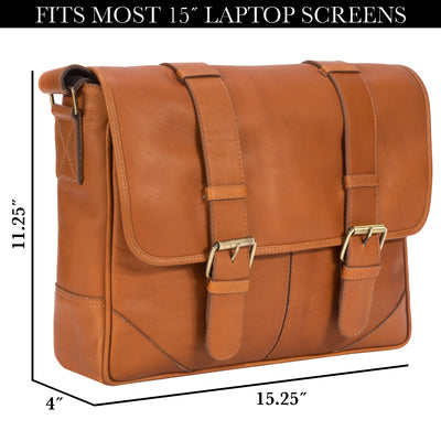 "Muiska Leather Dublin 15"" Laptop Messenger Shoulder Briefcase PC Sleeve"