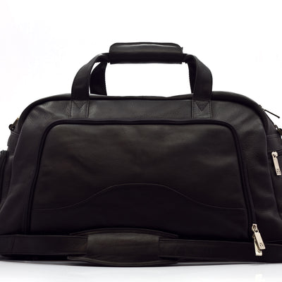 "Muiska Leather Luis 19"" Carry On Weekender Sports Gym Duffle, Black"