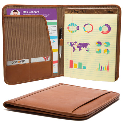 "Muiska Leather Rome 8.5 x 11"" Travel Business Writing Padfolio Cover, Saddle"