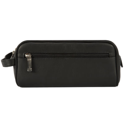 Muiska Leather Tomas Classic Double Zippered Travel Dopp Kit Toiletry Bag, Black