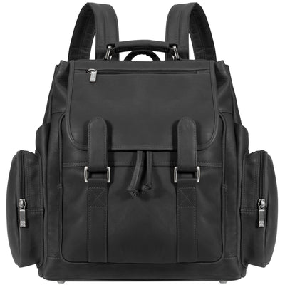"Muiska Leather Brooklyn Classic Drawstring 17"" Laptop Backpack, Black"