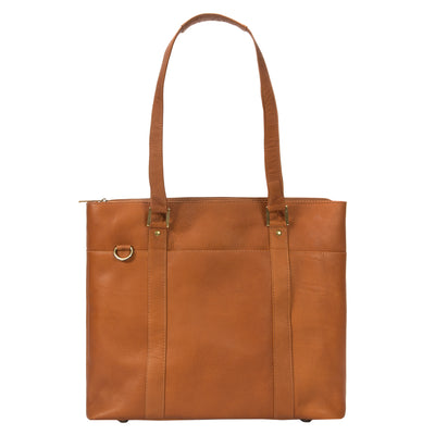 "Muiska Leather Taipei 15.4"" Laptop Business Tote Shoulder Briefcase, Saddle"