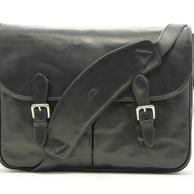 "Tony Perotti Mens Italian Cow Leather Lorenzo 15.6"" Laptop Satchel Flapover Briefcase Messenger Bag in Black"