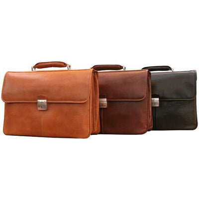 Tony Perotti Verona Traditional Triple Compartment Leather Briefcase