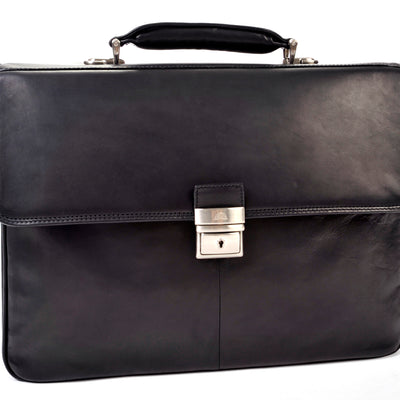 Tony Perotti Verona Traditional Triple Compartment Leather Briefcase in Black