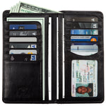 Tony Perotti Bifold Italian Leather Breast Pocket Wallet with ID in Black