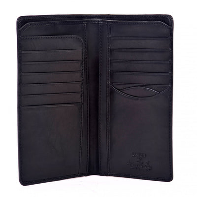 Tony Perotti Bifold Italian Leather Checkbook Breast Pocket Wallet in Black