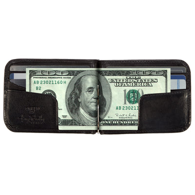 Tony Perotti Italian Leather Bifold Spring Tension Money Clip Wallet in Black