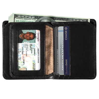 Tony Perotti Italian Leather Front Pocket Vertical Bifold Wallet w/ ID in Black