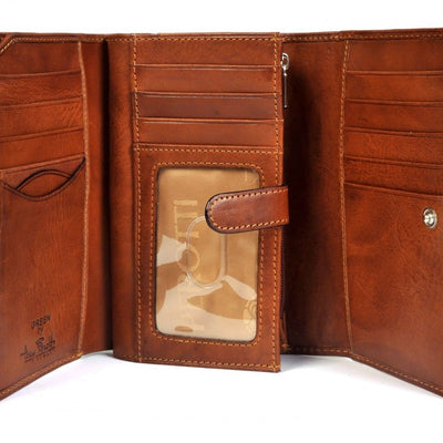 Tony Perotti Italian Leather Trifold Euro Clutch Wallet with ID Window in Cognac