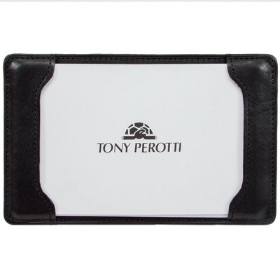 Tony Perotti Italian Leather Pocket Notepad Memo Writing Jotter in Black