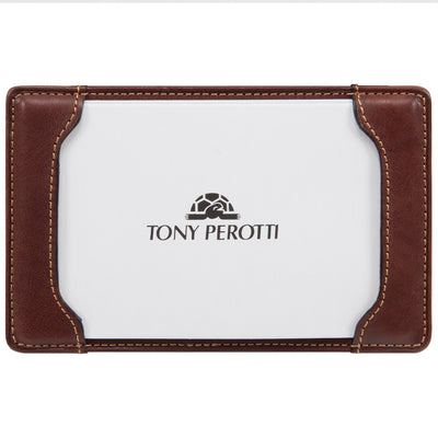 Tony Perotti Italian Leather Pocket Notepad Memo Writing Jotter in Brown