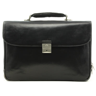 Tony Perotti Roberto Four-Compartment Expandable Laptop Briefcase in Black