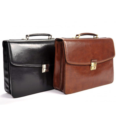 Tony Perotti Parma Double Compartment Leather Laptop Briefcase