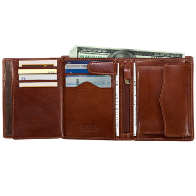 Tony Perotti Italian Leather Trifold Wallet w/ ID and Coin Pouch in Cognac