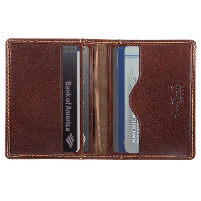 Tony Perotti Italian Leather Thin Bifold Credit Card Holder Wallet in Brown
