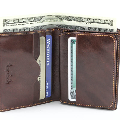 Tony Perotti Italian Leather Express Vertical Trifold Wallet w/ ID in Brown