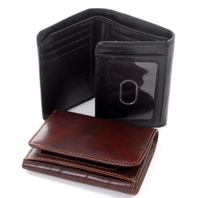 Tony Perotti Italian Leather Traditional Trifold Wallet with ID