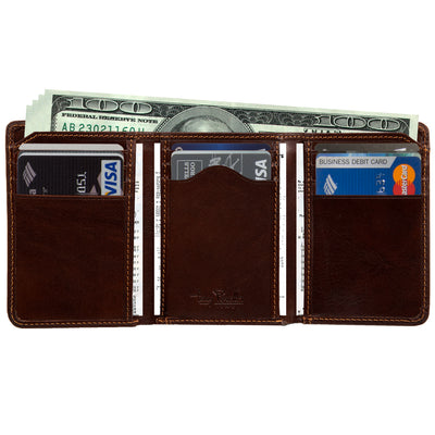 Tony Perotti Italian Leather Traditional Trifold Wallet with ID in Brown